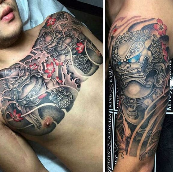 Traditional Japanese Mens Foo Dog Arm And Chest Tattoos