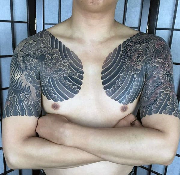 Traditional Japanese Mens Half Sleeve Dragon Tattoo