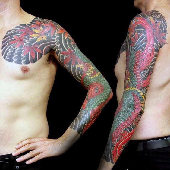 Traditional Japanese Mens Phoenix Sleeve Tattoo