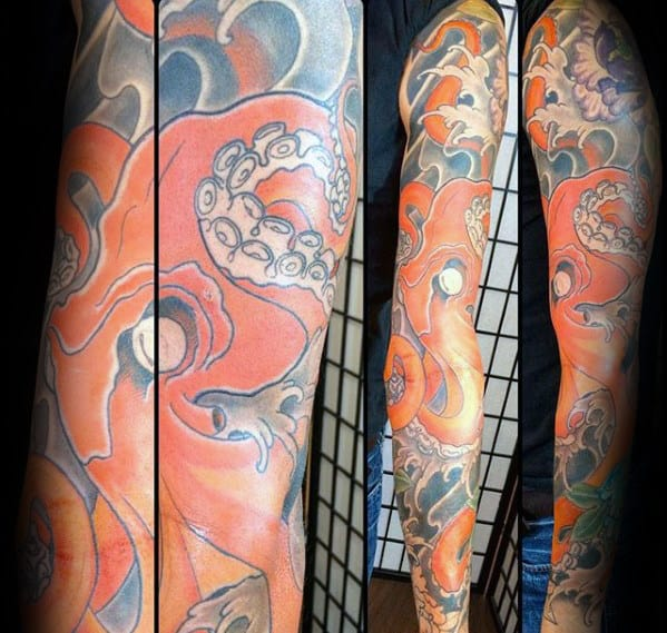 Traditional Japanese Octopus Male Sleeve Tattoo