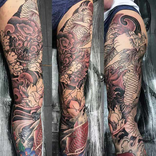 Traditional Japanese Themed Leg Sleeve Thigh Tattoo For Guys