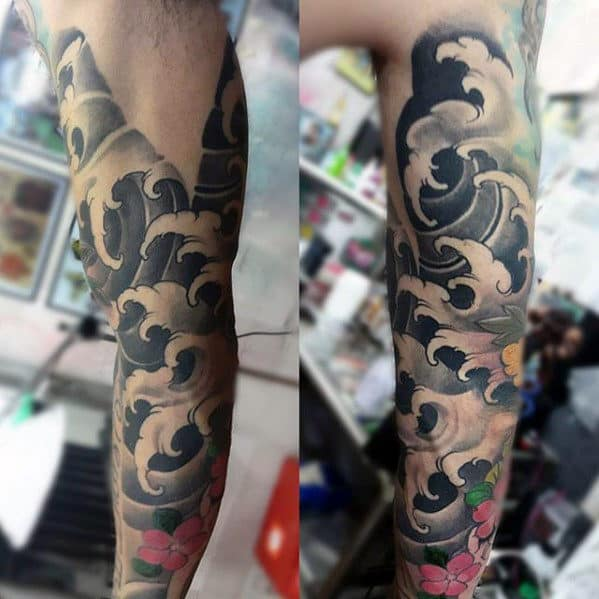 Traditional Japanese Waves Mens Water Sleeve Tattoo