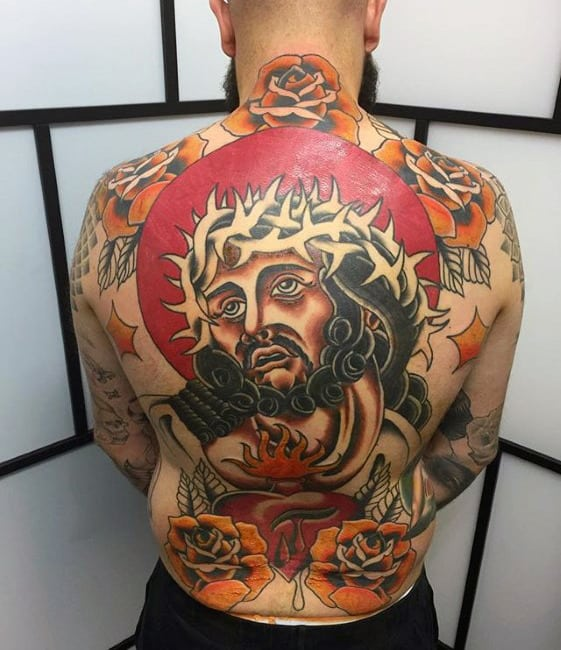 Traditional Jesus With Orange Rose Flowers Mens Full Back Tattoos