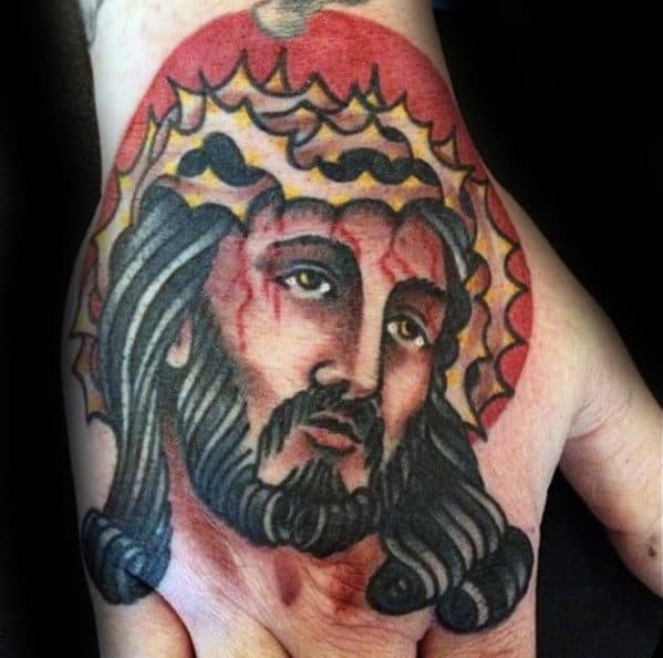 Traditional Jesus With Red Sun Mens Hand Tattoo