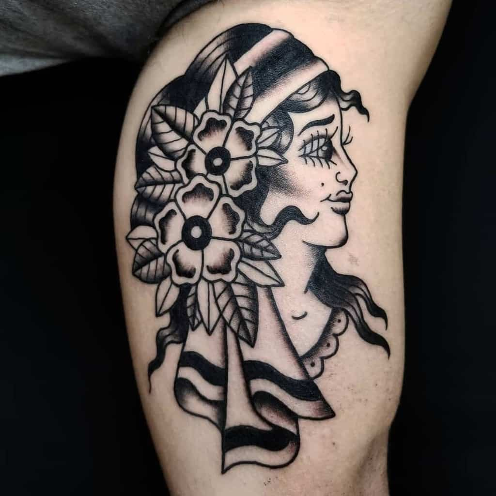 Traditional Lady Face Gypsy Tattoo