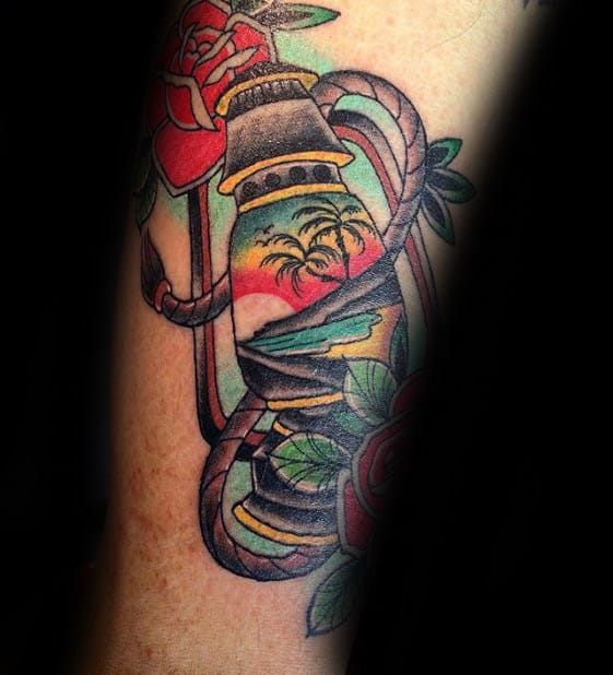 Traditional Lantern With Beach Lanscape And Sunset Mens Leg Tattoo
