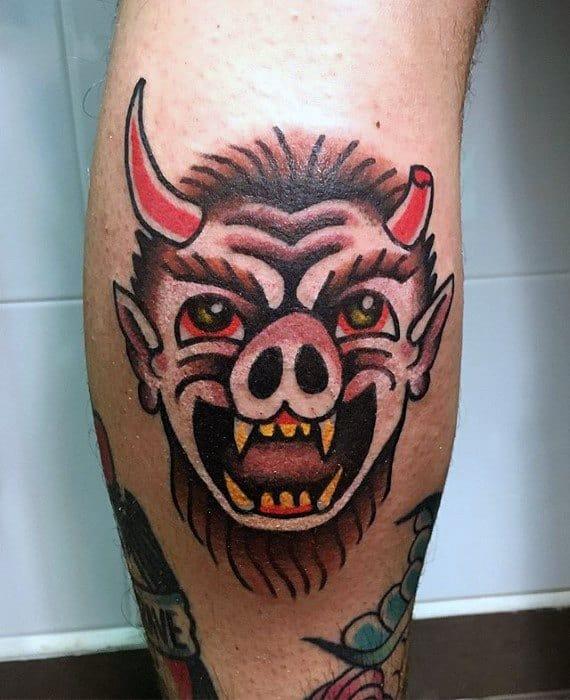 Traditional Leg Calf Krampus Male Tattoos