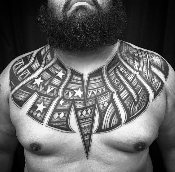 Traditional Lettering Tattoo Male Chest