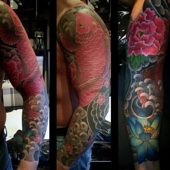 Traditional Lotus Flower Japanese Mens Sleeve Tattoos