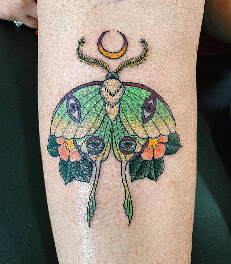 Traditional Luna Moth Tattoo Dad.tats