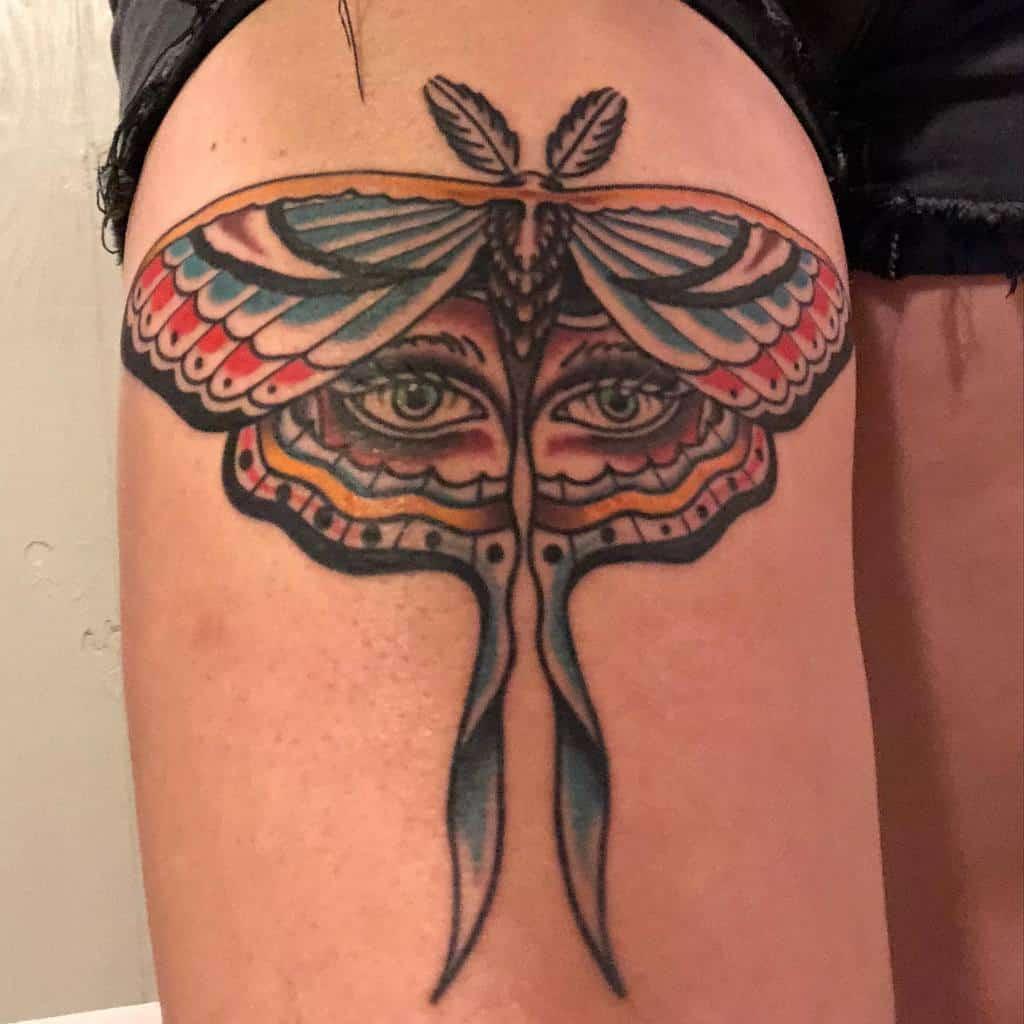 Traditional Luna Moth Tattoo Shanlenee