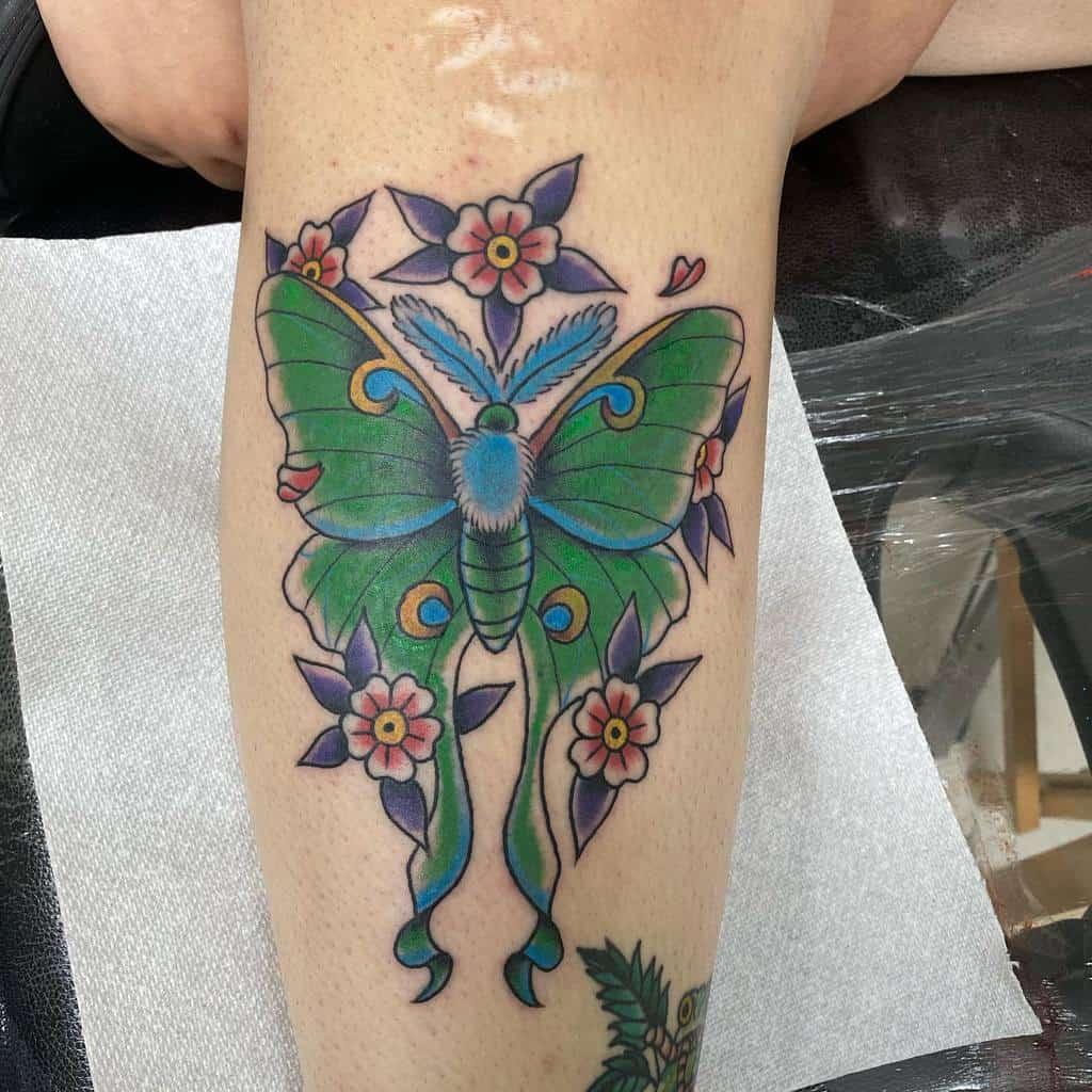 Traditional Luna Moth Tattoo Willybyrdtattoos