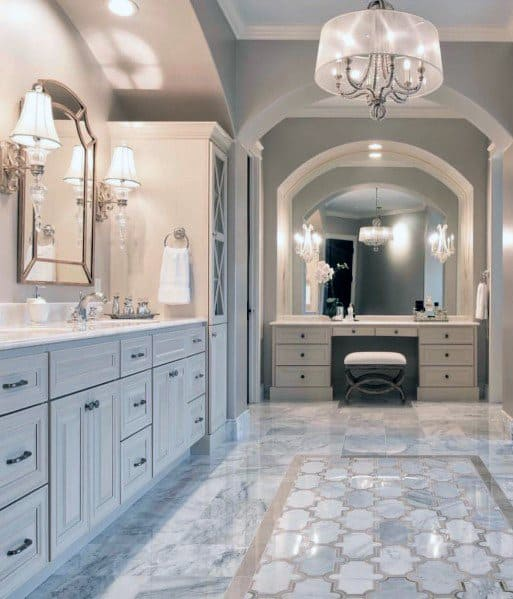 Traditional Luxury Bathroom Ideas Lighting With Chandelier