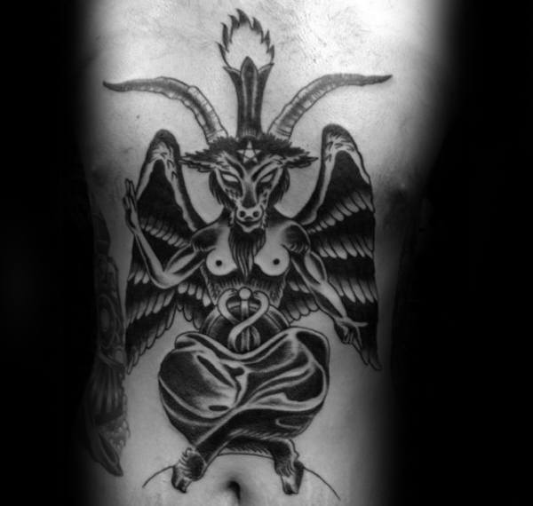 61abe03c6 Traditional Male Baphomet Stomahc And Chest Tattoos