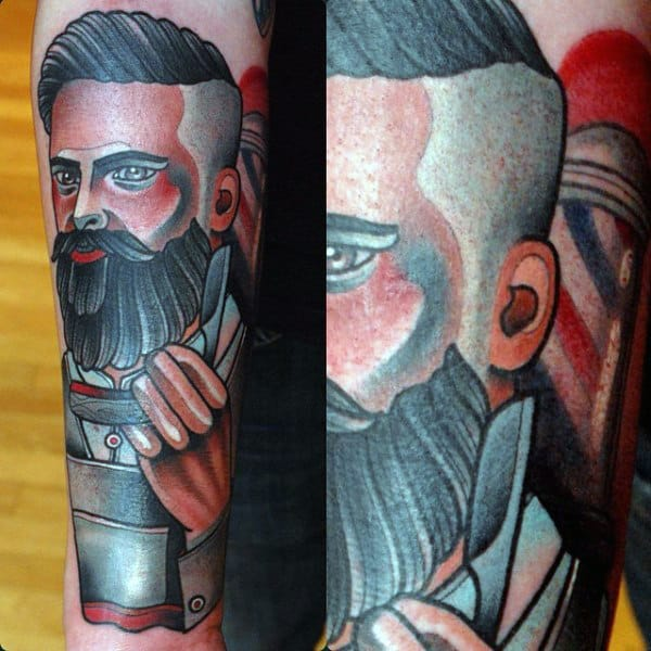 Traditional Male Barber Tattoos On Forearm