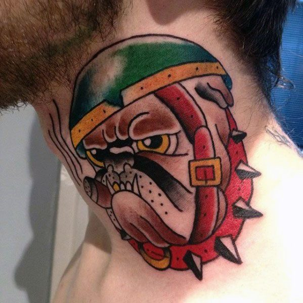 Traditional Male Bulldog Tattoo On Neck