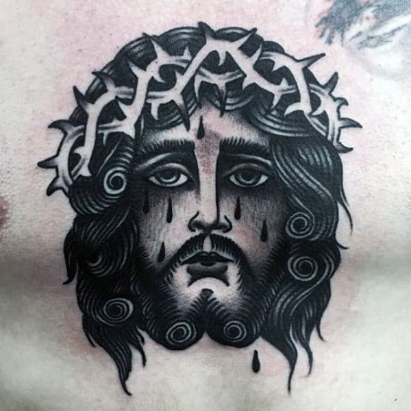 Traditional Male Chest Jesus Tattoo