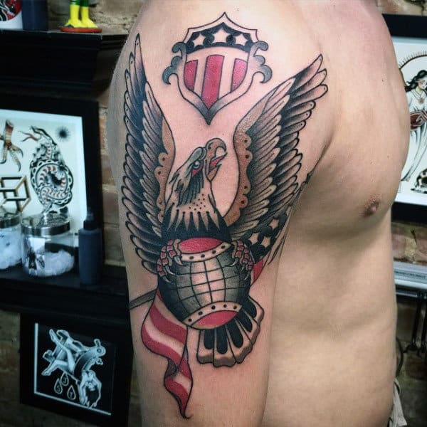 Traditional Male Navy Eagle Tattoo On Upper Arm