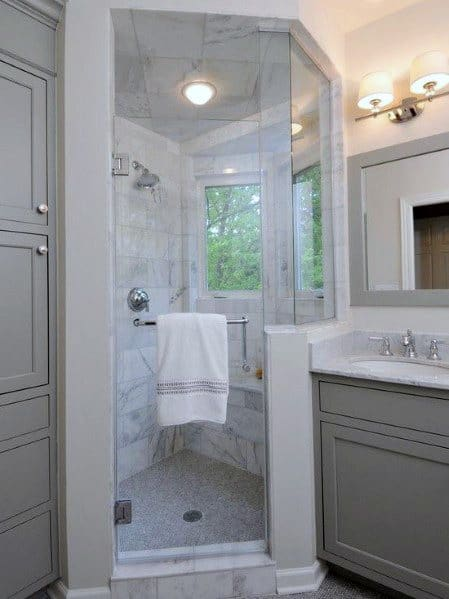 Traditional Marble Corner Shower Bathroom Design