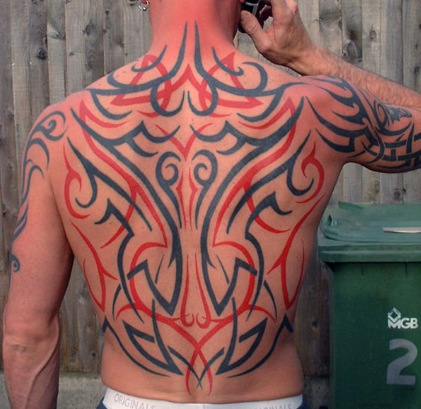 Traditional Mens Back Tribal Tattoo With Red And Black Ink