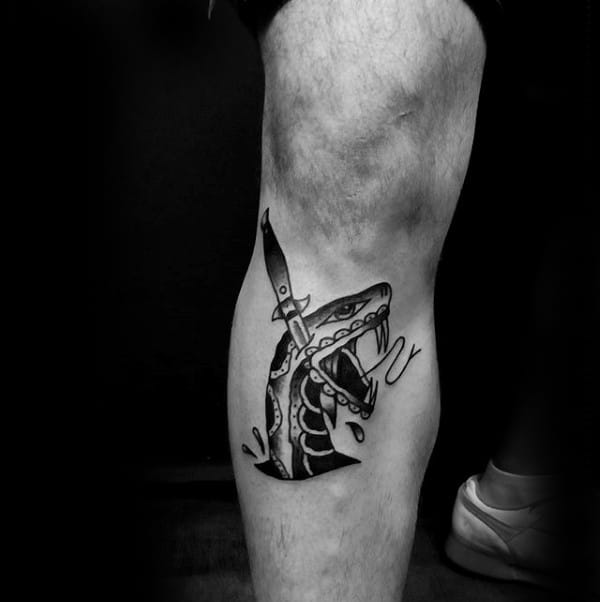 Traditional Mens Below The Knee Leg Snake Head Dagger Tattoo Design Ideas