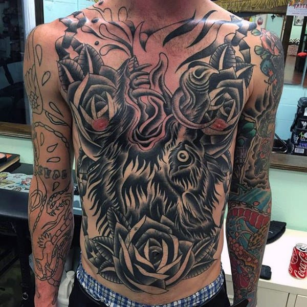 Traditional Mens Boar Full Chest Tattoo With Black Ink Design
