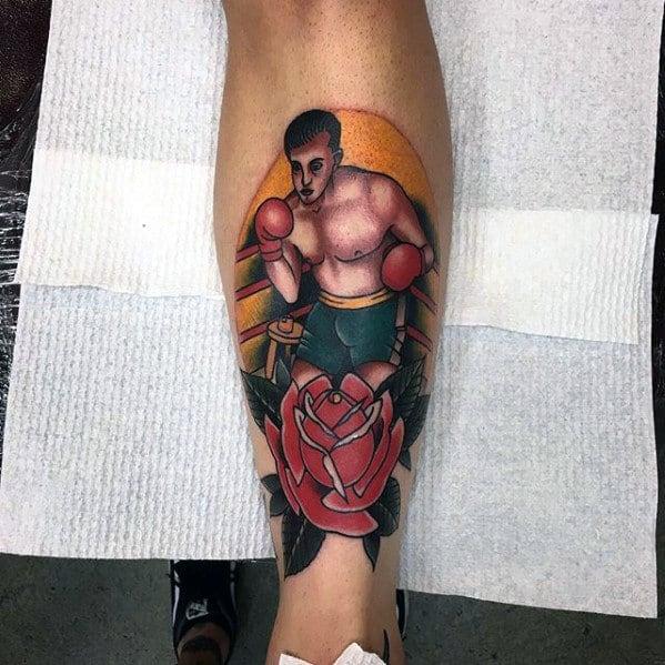 Traditional Mens Boxer Back Of Leg Rose Flower Tattoo