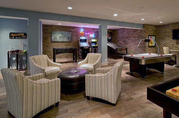 Traditional Mens Brick Wall Game Room Inspiration