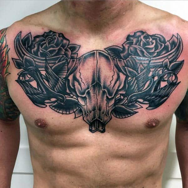 Traditional Mens Bull Skull With Sparrows And Rose Flowers On Chest