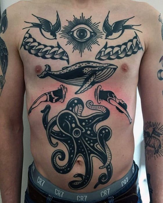 Traditional Mens Chest Black Ink Octopus Tattoo