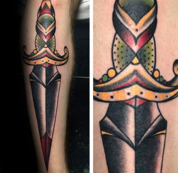 Traditional Mens Dagger Ornate Tattoo Designs On Back Of Leg
