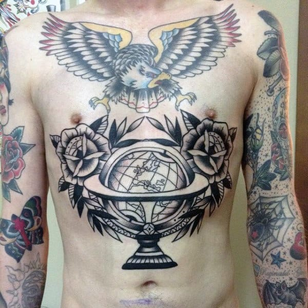 Traditional Mens Globe Chest Tattoo With Rose Flowers