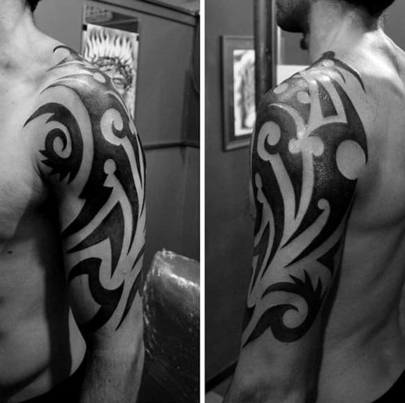 Traditional Mens Half Sleeve Tribal Solid Black Ink Tattoos