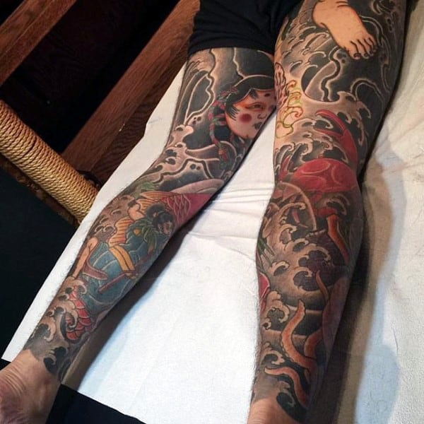 Traditional Men's Japanese Tattoo On Legs