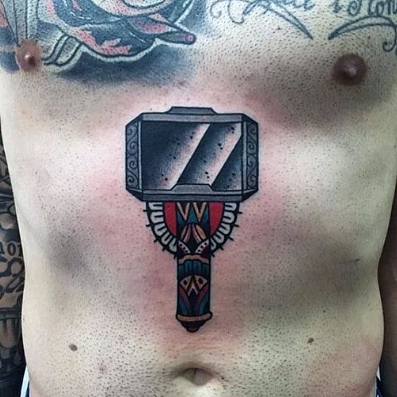 Traditional Mens Mjolnir Stomach Tattoo Designs
