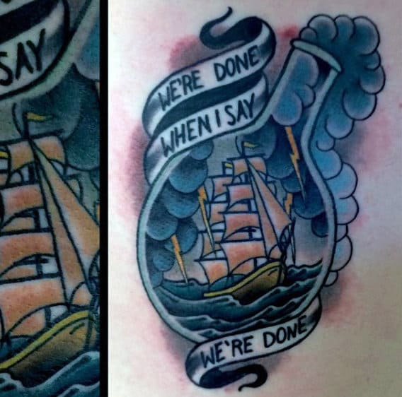 Traditional Mens Old School Breaking Bad Ship In A Chemistry Bottle Tattoo