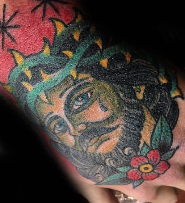 Traditional Mens Old School Jesus Hand Tattoo