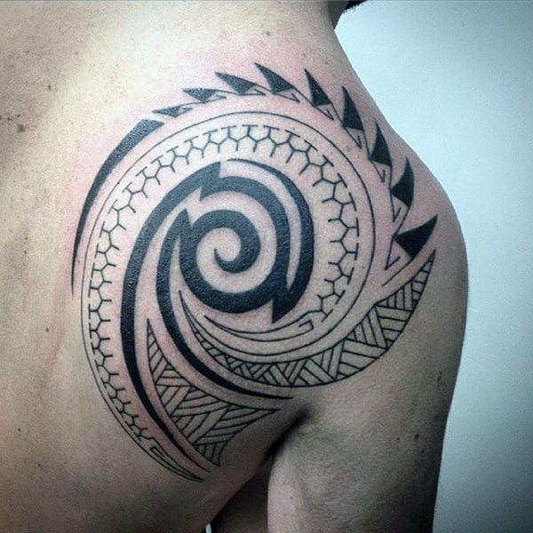 Traditional Mens Shoulder Tribal Tattoos