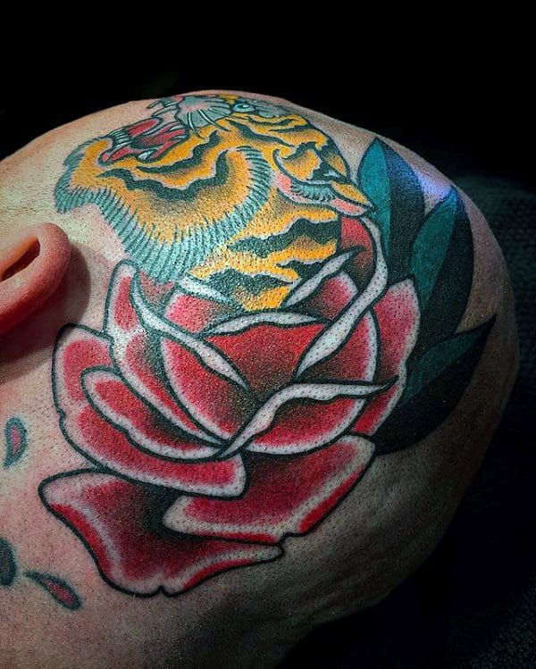 Traditional Mens Tiger Rose Flower Head Tattoos