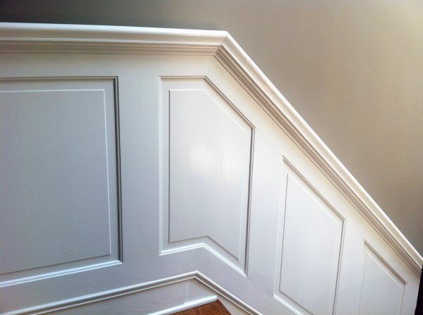 Traditional Molding Chair Rail White Painted Wood Staircase Trim Ideas