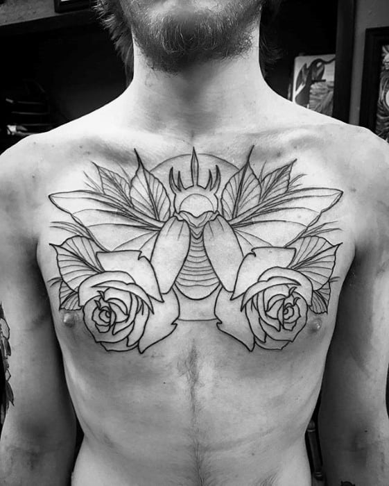 Traditional Moth Rose Flowers Guys Upper Chest Tattoo