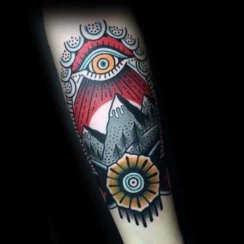 Traditional Mountain Guys Tattoo Ideas