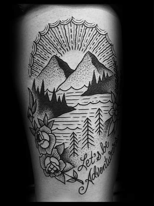 Traditional Mountain Male Tattoos