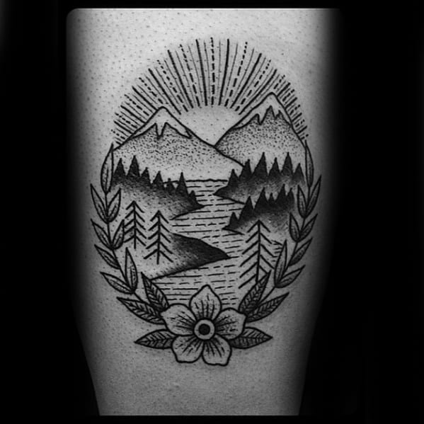 Traditional Mountain Mens Tattoo Designs