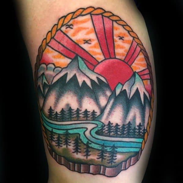 Traditional Mountain Mens Tattoo Ideas