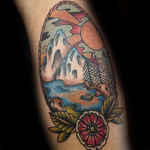 Traditional Mountain Tattoo Ideas For Males