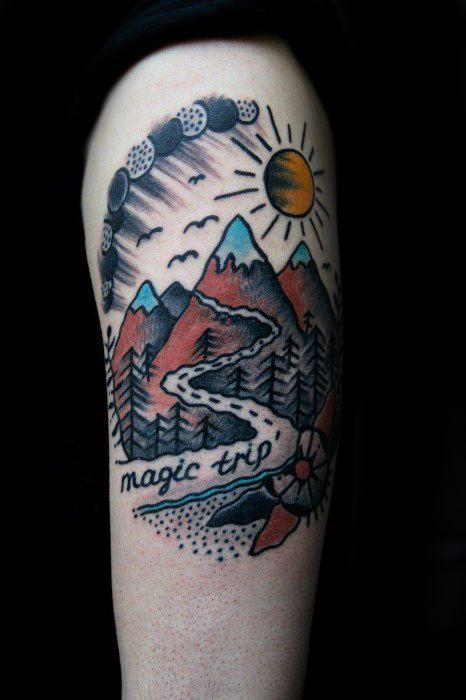 Traditional Mountain Tattoos For Gentlemen