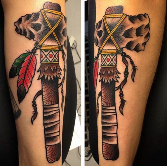 Traditional Native American Tribe Tomahawk Male Tattoo Design