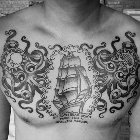 Traditional Octopus And Sailing Ship Male Upper Chest Tattoos