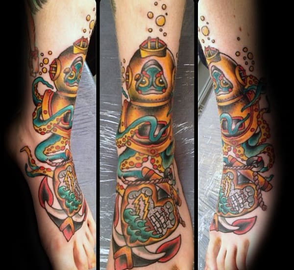 Traditional Octopus With Diver Helmet Mens Leg And Foot Tattoos